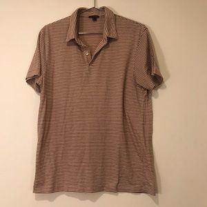 Theory Men's Striped Dark Red Cream Polo Shirt M/L